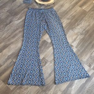 Pants - Abstract Print Stretch Bell Bottoms